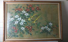 Japanese Print of Two Birds Among Blossoms Framed