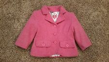NEW GAP Baby Girls Mulberry Pink Wool Coat Jacket Size 12-18 Months