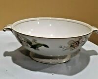 Vintage Ivory China Floral Serving Bowl With Handles 8""