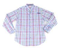 Columbia Mens Shirt Blue Size 2XL Plaid Print Super Tamiami Button Up $64 #147