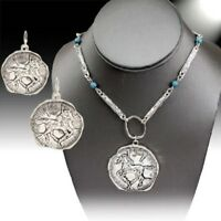 COWGIRL Western Asymmetrical Silver Horse Stallion Rodeo Necklace Earrings Set