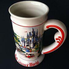 "Walt Disney World Stein Mug Raised Graphic Mickey Cinderella Castle 6.75"""