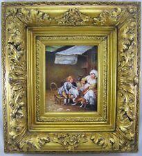 Gemälde Stubeninterieur / Genremalerei Kind Frau & Hund Prunkrahmen Öl/ Holz