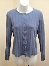 Talbots Collection S Cardigan Blue Cable Knit Silk Blend Sweater