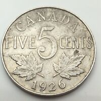 1926 Canada Near 6 Five 5 Cents Canadian Nickel Circulated Coin C676z