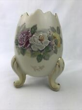 1961 Inarco Hand Painted Floral Porcelain Cracked Egg Vase/Planter Gold Trim 5�