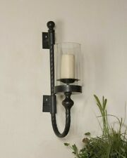 """GARVIN XL 27"""" AGED BLACK METAL GLASS GLOBE WALL SCONCE CANDLE HOLDER UTTERMOST"""