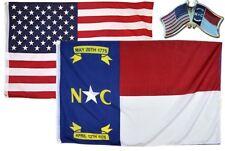 Wholesale Combo Usa & North Carolina State 3x5 3'x5' Flag & Friendship Lapel Pin