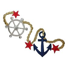 ID 1988 Nautical Ship Anchor Patch Wheel Marine Embroidered Iron On Applique