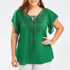 Plus Size Women Lace Chiffon T-Shirt Short Sleeve Casual Loose Top Blouse XL-5XL