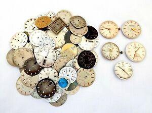 Lot 100 Vintage Face Dials Watches Replacement Watchmakers De Gift 5 Movements