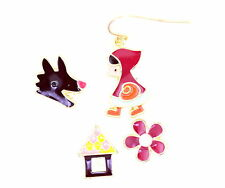 Mismatched little red riding hood, wolf, house and flower earrings, super cute
