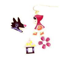 Mélangées petit rouge circ. hotte,loup,maison et boucles d'oreille en fleurs,