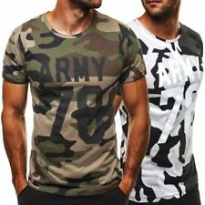 Cotton Blend Camouflage Short Sleeve T-Shirts for Men