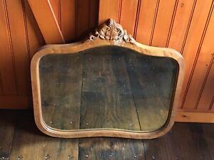 Antique Carved Oak Wooden Frame Beveled Wall Mirror