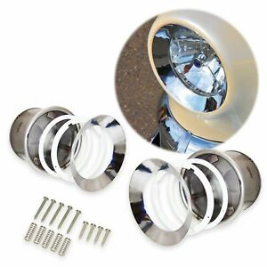 "Universal 7"" Round Frenched Headlight Kit (Pair) Chrome Trim AutoLoc AUTFRHEAD G"