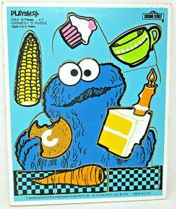 """1973 Playskool COOKIES * Monster """"C"""" PUZZLE 315-4 Sesame Street Wood Frame Tray"""