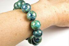 """Beautiful Chrysocolla Bracelet with Malachite Azurite ~ 8"""" ~ 15mm beads ~ 7805A"""