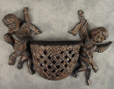 French Country Cherub Angels Cast Iron Wall Pocket Sculpture ~ Antiqued Brown ~