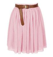 Pink | Women Lady Chiffon Pleated Mini Skirt Retro High Waist S-3XL | 25 Color
