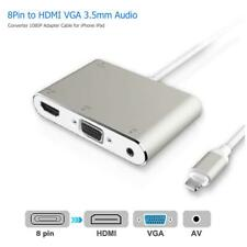 8Pin to HDMI VGA 3.5mm Audio Converter 1080P Adapter Cable for iPhone iPad Kit