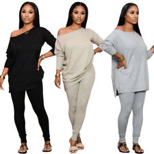 NEW Stylish Women Long Sleeves Solid Patchwork Casual Long Jumpsuit 2pcs