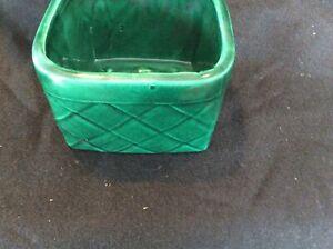 Vintage Pottery Green Basket Planter USA Ungemach