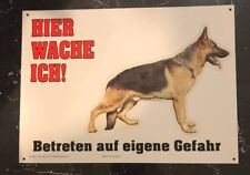German Shepherd Beware Of Dog Sign In German