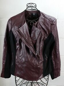 G BY GUILIANA Burgundy Red Bordeux Faux Leather Motorcycle Moto Zipper Jacket XL