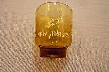 "SOUVENIR SHOT GLASS-CAPE MAY NEW JERSEY-Amber-White Design-2 1/4"""