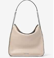 NWT~ Authentic Michael Kors Studded Astor Large Leather Hobo Handbag ~Cement