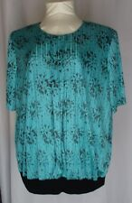 Top Notch Womens Plus Size Top 30W Teal Black Splatter Print Slinky Knit Vintage