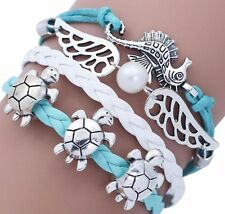SP Turtle/Seahorse/Wings & Pearl Turquoise/Aqua Lobster Clasp Cuff Bracelet