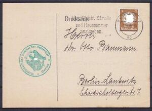 Dr Dienst Mi No. 132 Ef Drucksache Berlin University 1935 With Advertising Stamp