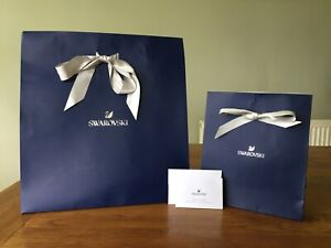 """""""SWAROVSKI"""" LARGE & SMALL NAVY GIFT BAGS WITH BEAUTIFUL SILVER BOW RIBBON"""