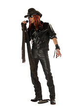 80's Rock Star Jacket Adult Black Vinyl Biker Style Costume Jacket With Belt Lg