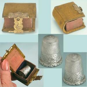 Antique Sterling Silver Thimble in Velvet Book Case * English * Hallmarked 1902