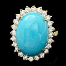 Certified 10.00cttw Turquoise 1.00cttw Diamond 14KT Yellow Gold Ring