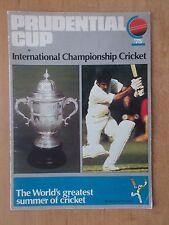 Programma COPPA prudenziale-primo mai Cricket World Cup 1975