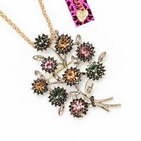 Betsey Johnson Crystal Rhinestone Flower Leaf Pendant Chain Necklace/Brooch Pin