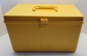 Vintage Wilson Wil-Hold Plastic Sun Yellow Sewing Box w / Thread Storage Trays