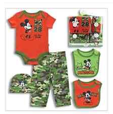 5-PIECE MICKEY MOUSE LAYETTE BOX SET Camouflage Design - Cap Bibs Pants Bodysuit
