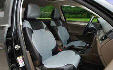 2 Front Car Seat Covers Black Gray Leatherette Compatible to Dodge #15304