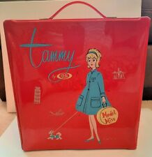 Vintage 1960s Retro Red Vinyl Ideal Tammy Toy Doll Travel Clothing Carry Case Tote