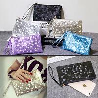 Women Leather Purse Bling Clutch Zipper Wallet Key Holder Tote Bag
