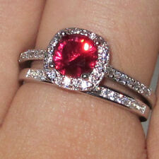 Size 5-11 Diamonique 925 Silver Red Ruby Wedding Engagement Band Ladys Ring Set