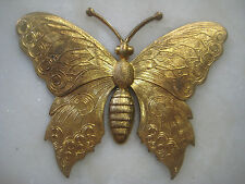 "French Art Nouveau Butterfly, Detailed Die Struck Brass Stamping 3"" x 2 5/8"","