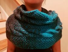 hand-knitted cowl infinity scarf with lion brand Scarfie yarns(charcoal/aqua)