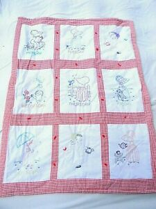 Days of the Week Crib Summer Quilt Red Gingham Embroidered Dutch Girls Bonnets