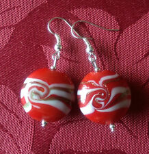 Lampwork drop dangle, silver plated earrings , red/gold/white. 20mm , (91)